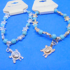 Gold & Silver Turtle Bracelet w/ Turquoise Stone Beads .54 each