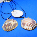 "16""-18"" Black Cord Necklace w/ Real 2"" Shell Pendant w/ Gold Trim .56 each"