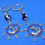 "2"" Ships Wheel Keychain w/ Blue Stones & Glass Eye Bead  .54 each"