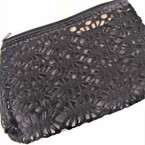"4.5"" X 7"" See Thru Black Mesh Cosmetic Bag w/ Mirror .56 each"