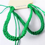2 Pack All Green Handmade Macrame Bracelets   .52 per set