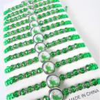 Green Macrame & Cry. Bead Bracelets w/ Saint Jude  12 per pk  .54 each