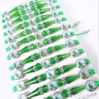 Green Macrame & Cry. Bead Bracelets w/ Saint Jude Pic's 12 per pk  .54 each