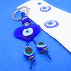 Blue Glass Heart Keychain w/ Blue Eye Beads   .54 each