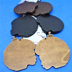 "2.5"" Wood Earrings Afro Comb Theme 3 colors .54 per pair"