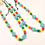 Rasta Color Bead Necklace w/ Turquoise Turtles .54 each