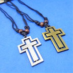 DBL Leather Cord Necklace w/ Gold/Silver Spin Cross Pendants .54 each