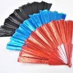 "SPECIAL 9"" Metallic Style Hand Fans 3 colors 12 per pk .49 each"