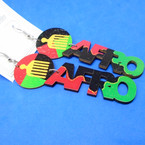 "3"" Rasta Color Wood Earrings w/ Afro Saying & Pick Top .54 per pair"