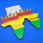 "3"" Rasta Color Wood Earrings w/ Africa Queen  Map w/ Crown   .54 per pair"