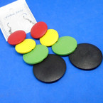 "4"" 4 Round Disc Wood Earrings w/ Rasta Colors  .54 per pair"