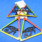 "3"" New Style Rasta Color Wood Earrings Large Triangle 2 styles .54 per pair"