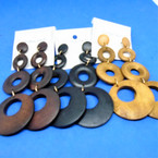 """4"""" 4 Part Donut Style Wood Earrings w/ Natural Colors  .54 per pair"""