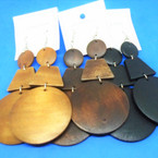 """3"""" 3 Part Fashion  Wood Earrings w/ Natural Colors  .54 per pair"""