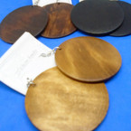 "2.5"" Basic Round  Wood Earrings  Natural Colors  .54 per pair"
