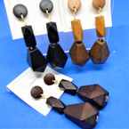 "2.5"" 3 Part Dangle Wood Fashion Earrings  Natural Colors  .54 per pair"