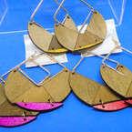 """3"""" New Gold Frame Wood Fashion Earrings w/ Color Trim   .54 per pair"""