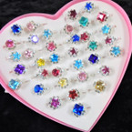 Kid's Crystal Stone Fashion Rings 36 pc box (493) .21 each