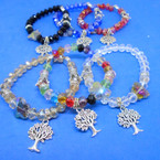 Crystal Stone Stretch Bracelet w/ Tree of Life Charm,Butterfly & Crown  .54 each