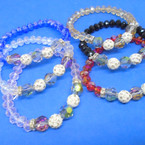 Crystal Stone Stretch Bracelet w/ AB & Fireball Beads   .54 each