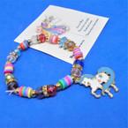 Colorful Kid's Beaded Stretch Bracelet w/ Epoxy Unicorn Charm .54 each
