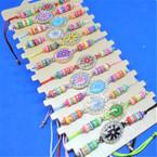 Colorful Cord & Bead Stretch Bracelet w/ Oval Cry. Stone Flower Charm  .49 each