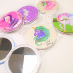 "3"" Unicorn Theme Pattern Round DBL Compact Mirror .56 each"