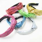 Soft Fabric  Metallic Print Knot Fashion Headbands .54 each
