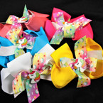 "5"" Layered Gator CLip Bows w/ Unicorn Asst Colors  .54 each"