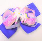 "5"" Layered Gator CLip Bows w/ Unicorn & Silver Ribbon  Asst Colors  .54 each"