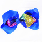 "6"" Gator CLip Bows w/ Rainbow Sequin  Center  Asst Colors  .54 each"