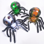 "5"" Super Squishy Spiders w/ Multi Color Beads 12 per display bx .62 ea"