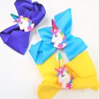 "5"" Layered Gator CLip Bows w/ Unicorn & Horn  Asst Colors  .54 each"