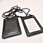 "4"" All Black DBL Side ID Holder Cord Necklace .54 each"
