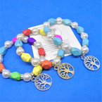 Colored Stone & Pearl Bracelets w/ Tree of Life Charm .54 ea