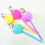"10"" Novelty Unicorn Pom Pom Pens 12 per pk .60 each"