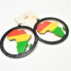 "2.75"" Round Wood Earrings w/ Rasta Color African Map .54 per pair"