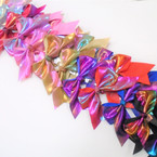 "4"" X 4"" Metallic Gator Clip Bows 24 per pk .28 each bow"