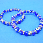 Blue Crystal Stone Bracelets w/ Eye Beads & Mini Crystals  .54 ea
