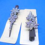 "5"" Black Salon Clip w/ Crystal Stone Design .56 each"