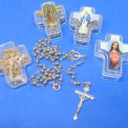 "30"" Gold & Silver Rosary in Keepsake  Cross Box   .56 each"