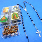 "30"" Black & Brown Rosary in Square Keepsake   Box   .56 each"