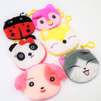 "4"" Cute Mixed Style Animal Zipper Bag Purses (99) .56 each"