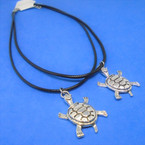 "16""-18"" Black Cord Necklace w/ Silver Land Turtle  Pendant 24 per pk .30 each"