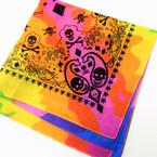 """22"""" Square Tye Dye Skull Print Bandana 12 per pk .54 each"""