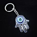 """2"""" Silver Hamsa Keychain w/ Cry. Stones & Eye Bead 12 per pk .54 each"""