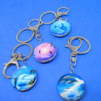 DBL Sided Glass Keychains w/ Clip Dolphin Theme 12 per pk .54 each