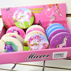 Unicorn Theme Round DBL Compact Mirror in Display (219) .56 each