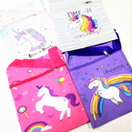 "6"" X 7.5"" Unicorn Theme Messenger Bags w/ Long. Strap .65 each"