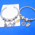 Gold & Silver Spring Style Bracelet w/ Mixed  Charms .54 ea